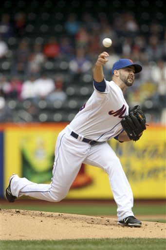 New York Mets starting pitcher Dillon Gee pitches during the second inning of a baseball game against the St. Louis Cardinals Monday, June 4, 2012, at Citi Field in New York. (AP Photo/Seth Wenig)