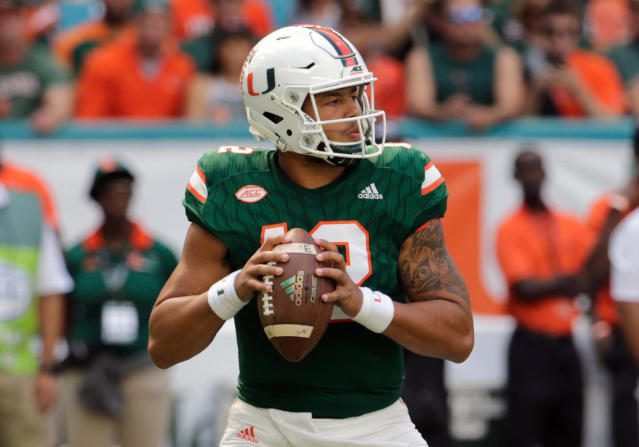 FILE - In this Nov. 18, 2017, file photo, Miami quarterback Malik Rosier looks to pass during the first half of an NCAA college football game against Virginia, in Miami Gardens, Fla. This spring was a busy one around the Atlantic Coast Conference _ especially for the returning quarterbacks who won division titles last season. In a conference in which the only new head coach wasted no time getting comfortable in his new position and Louisville developed a replacement for its only Heisman Trophy winner, the main subplot revolved around the seemingly secure QBs who are trying to keep their jobs. (AP Photo/Lynne Sladky, File)