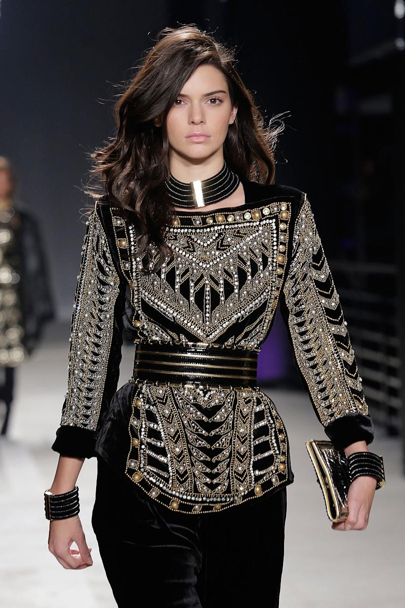 NEW YORK, NY - OCTOBER 20: Kendall Jenner models the first look wearing BALMAIN X H&M collection during the launch event at 23 Wall Street on October 20, 2015 in New York City. (Photo by Etienne Tordoir/WireImage)
