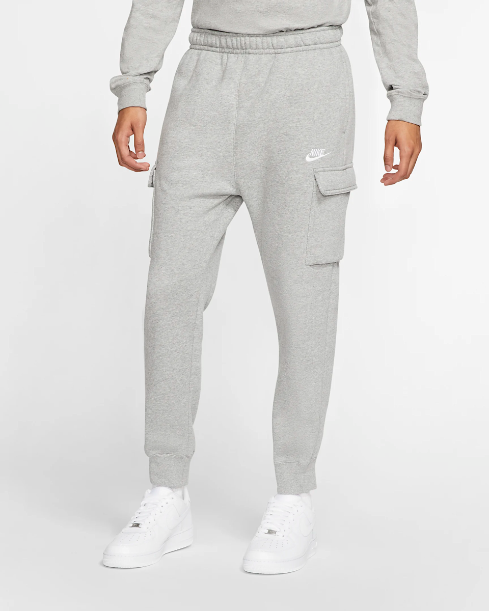 """Simple gray sweatpants are a classic gift you can always fall back on. <br><br><strong>Nike</strong> Fleece Cargo Pants, $, available at <a href=""""https://go.skimresources.com/?id=30283X879131&url=https%3A%2F%2Fwww.nike.com%2Ft%2Fsportswear-club-fleece-mens-cargo-pants-NhXSTS%2FCD3129-063"""" rel=""""nofollow noopener"""" target=""""_blank"""" data-ylk=""""slk:Nike"""" class=""""link rapid-noclick-resp"""">Nike</a>"""