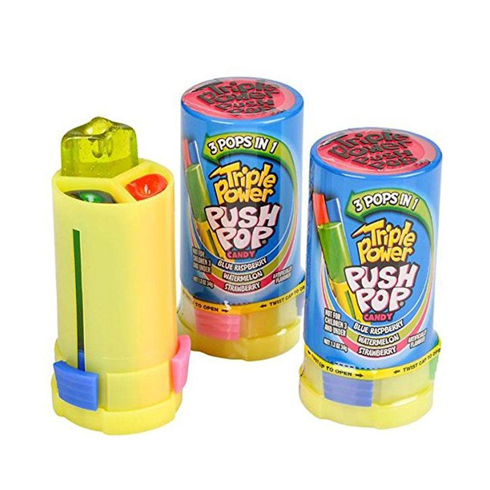 <p>Push Pops were already considered a leveled-up lollipop, and this Triple Power design, built to enjoy multiple flavors at once, became a novelty in 1996 when it was released. (Sorry, '90s kids: It's sadly discontinued.)</p>