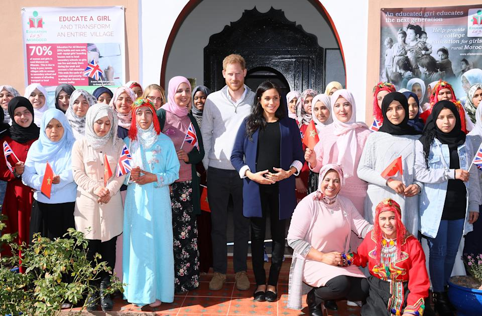 Harry and Meghan at the 'Education for All' boarding house in Asni town in Morocco [Photo: Getty]