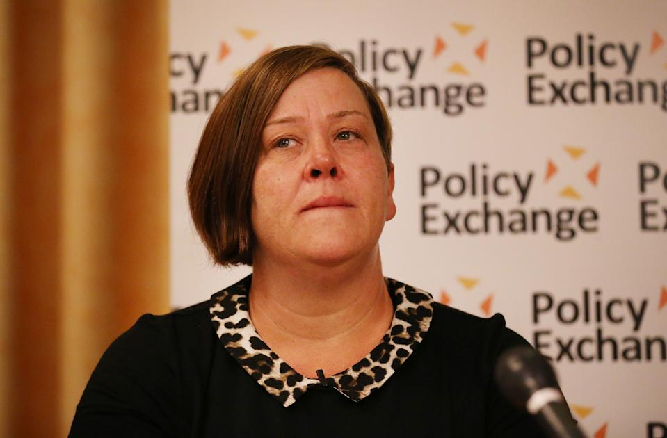 Deirdre Kelly, known as White Dee speaks at a Policy Exchange fringe meeting at the Conservative party conference on September 29, 2014 in Birmingham, England. (Photo by Peter Macdiarmid/Getty Images)