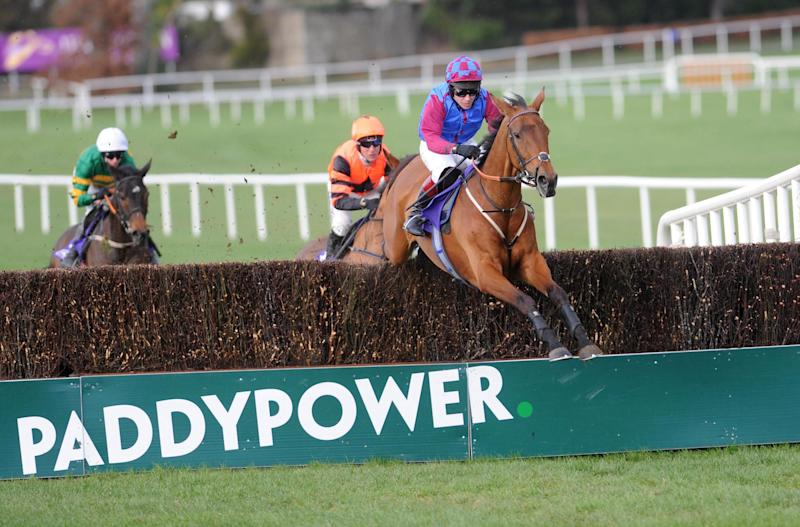 La Bague Au Roi ridden by Richard Johnson goes on to win the Flogas Novice Chase during day two of the Dublin Racing Festival at Leopardstown Racecourse.