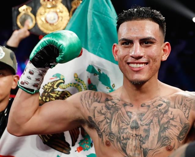 Jose Benavidez Jr. celebrates his first-round knockout of Frank Rojas at MGM Grand Garden Arena on June 9, 2018 in Las Vegas. (Getty Images)