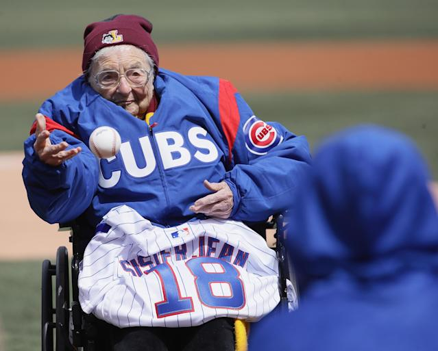 Sister Jean and the Loyola men's basketball team were honored by the Cubs at Wrigley Field opening day. (Getty Images)