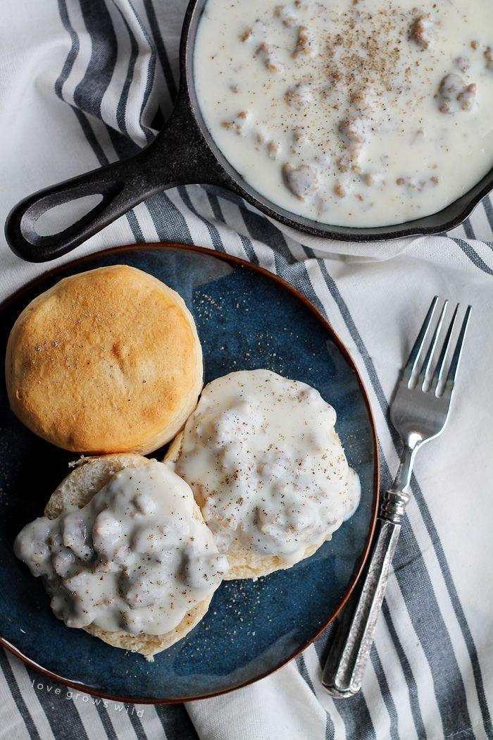 """<p>Make your Thanksgiving Southern-style with biscuits and gravy.</p><p>Get the recipe from <a href=""""http://lovegrowswild.com/2015/01/biscuits-gravy/"""" rel=""""nofollow noopener"""" target=""""_blank"""" data-ylk=""""slk:Love Grows Wild"""" class=""""link rapid-noclick-resp"""">Love Grows Wild</a>.</p>"""