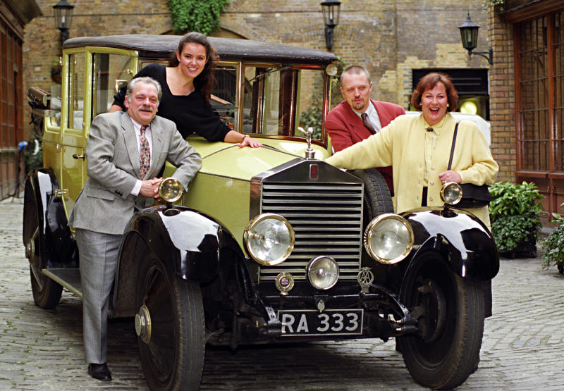 "Stars from Yorkshire televisions ""The Darling Buds of May"" during a photocall. The hit show returs for a third series. (L-R) David Jason (Pop Larkin), Abigail Rokison (Primrose), Phillip Franks (Charley) and Pam Ferris (Ma Larkin)."