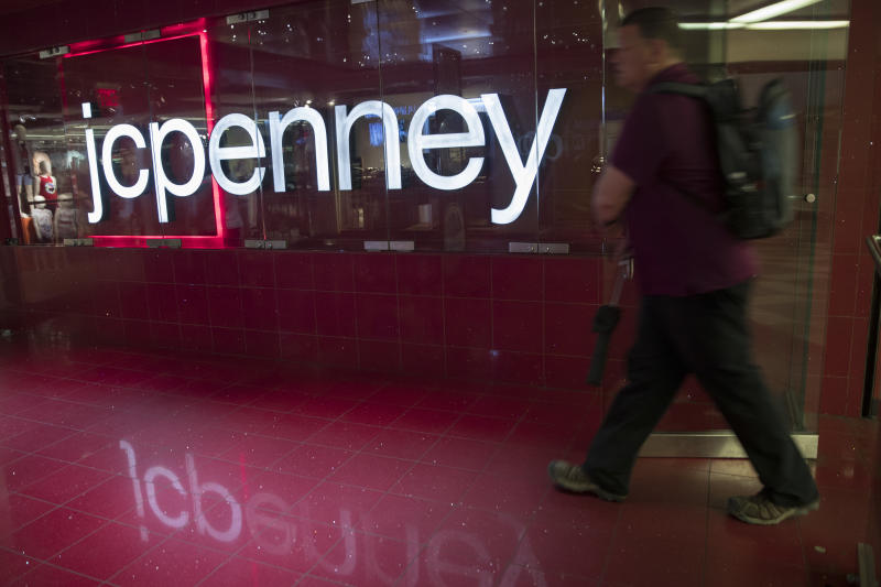 In this May 16, 2018, photo, a man enters the JC Penney store at the Manhattan mall in New York. J.C. Penney Co. reports earnings on Thursday, May 17. (AP Photo/Mary Altaffer)