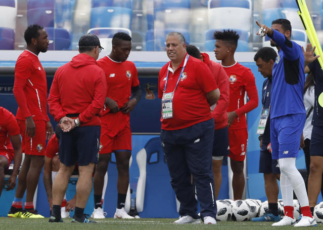 Ramon Cardoze, vicepresident of the Panama FA, foreground, attends a training session of Panama at the 2018 soccer World Cup in Nizhny Novgorod, Russia, Saturday, June 23, 2018. (AP Photo/Darko Bandic)
