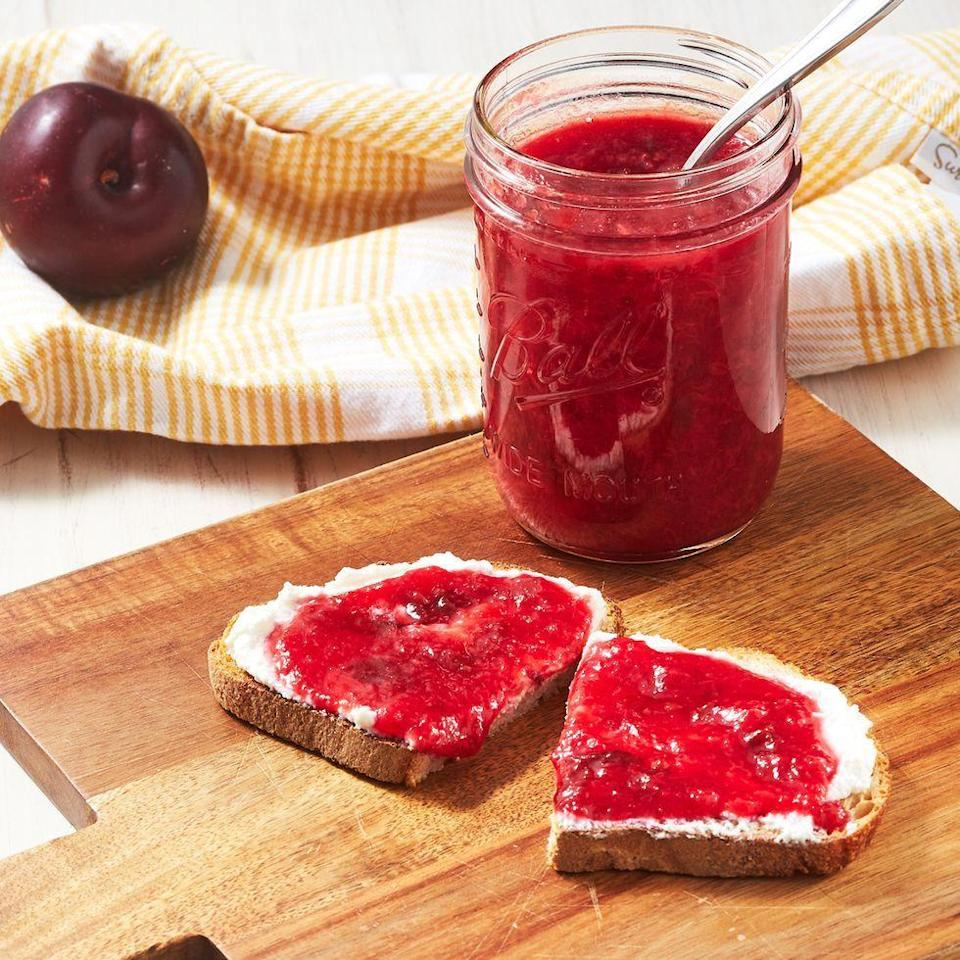 """<p>When it's peak summer, and plums are ripe and juicy, we love making this ultra simple <a href=""""https://www.delish.com/uk/cooking/recipes/a31332388/jelly-donut-french-toast-recipe/"""" rel=""""nofollow noopener"""" target=""""_blank"""" data-ylk=""""slk:jam"""" class=""""link rapid-noclick-resp"""">jam</a>. Amazing on toast, swirled into yogurt, or atop a bowl of porridge, its bright flavour improves pretty much anything it touches. We can't get enough of it. </p><p>Get the <a href=""""https://www.delish.com/uk/cooking/recipes/a32943701/plum-jam-recipe/"""" rel=""""nofollow noopener"""" target=""""_blank"""" data-ylk=""""slk:Plum Jam"""" class=""""link rapid-noclick-resp"""">Plum Jam</a> recipe.</p>"""