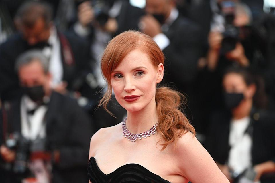 <p>Chastain arrived for the festival's opening ceremony and première of the film Annette, by Leos Carax, wearing a necklace set with more than 112 carats of oval-cut rubies and almost 14 carats of white diamonds, which brought colour and drama to her black strapless Dior gown. </p>