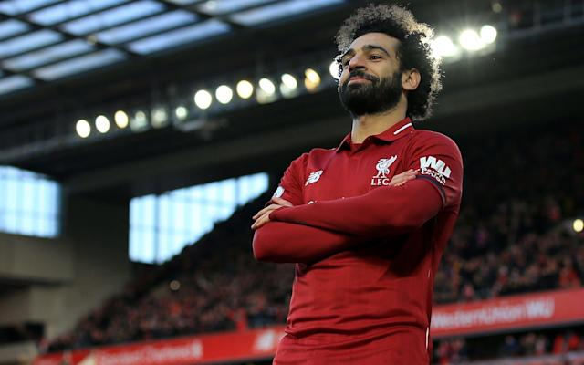 Mohamed Salah celebrates scoring Liverpool's third goal - Offside