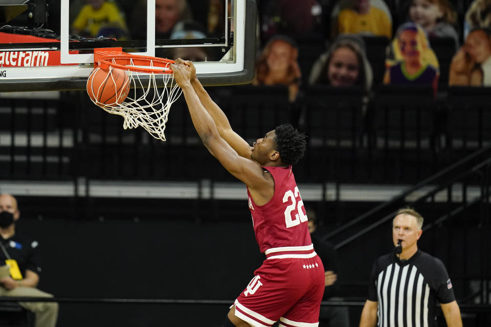 Indiana forward Jordan Geronimo dunks the ball during the first half of an NCAA college basketball game against Iowa, Thursday, Jan. 21, 2021, in Iowa City, Iowa. (AP Photo/Charlie Neibergall)