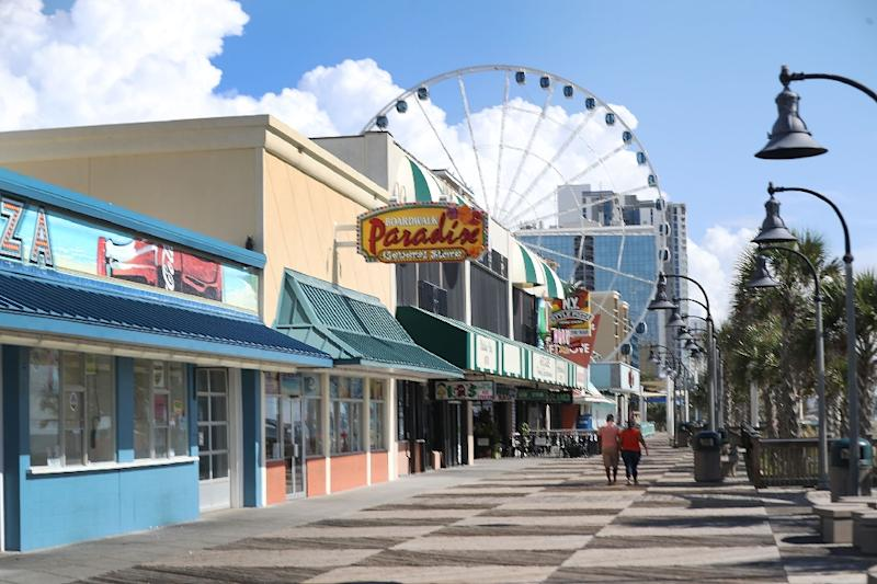 South Carolina's Myrtle Beach, pictured, and Virginia Beach, further north are popular destinations particularly vulnerable to the full force of stormy seas (AFP Photo/JOE RAEDLE)