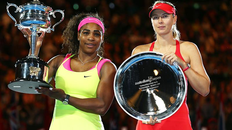 Serena Williams and Maria Sharapova, pictured here at the Australian Open in 2013.