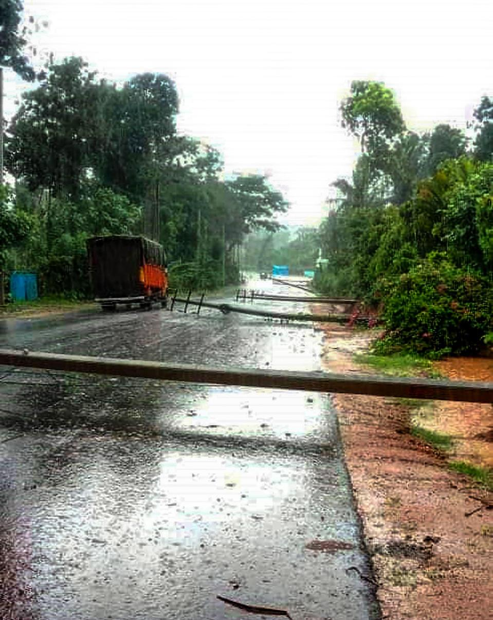 Electric poles fell due to heavy rain and wind from Tauktae cyclone, at Bidarahalli near Chikmagalur