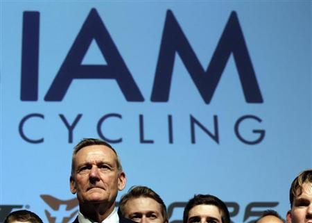 IAM cycling team founder and main sponsor Thetaz looks on during the team presentation in Geneva