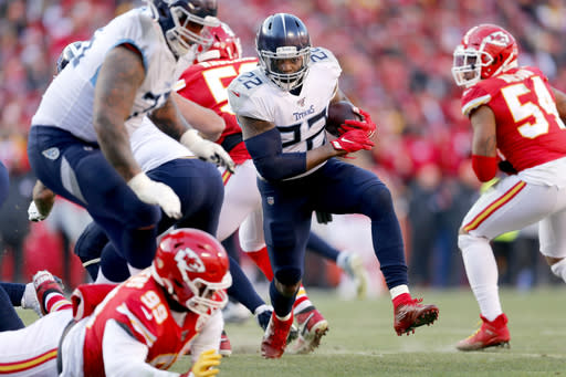 Tennessee Titans' Derrick Henry (22) runs during the first half of the NFL AFC Championship football game against the Kansas City Chiefs Sunday, Jan. 19, 2020, in Kansas City, MO. (AP Photo/Jeff Roberson)