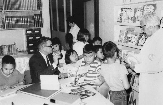 A teacher with students during the 1960s at the Charles Camsell Indian Hospital in Edmonton, Alta., one of 29 facilities named in a class-action lawsuit. (Alberta Provincial Archives - image credit)