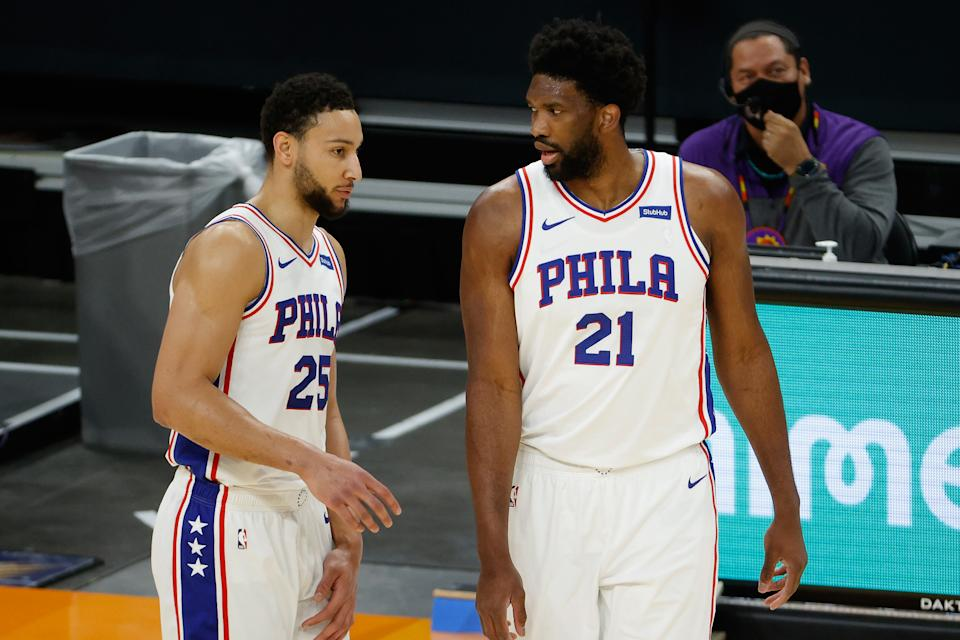 Ben Simmons and Joel Embiid with the 76ers.