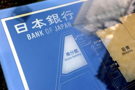 FILE PHOTO: A sign board of Bank of Japan is displayed at the headquarters in Tokyo