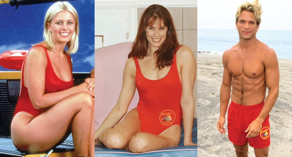 Nicole Eggert, Alexandra Paul and David Chokachi all rocked the red swimsuit on Baywatch. (Photo: Getty Images)