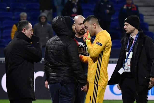 Lyon goalkeeper Anthony Lopes attempted to speak with the club's fans after the incident after the draw with RB Leipzig (AFP Photo/JEFF PACHOUD)