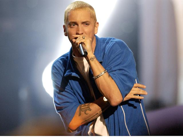 (NO TABLOIDS) Eminem performs at the 2002 MTV Movie Awards at the Shrine Auditorium in Los Angeles. during 2002 MTV Movie Awards - Show at the The Shrine Auditorium in Los Angeles, California. (Photo by Michael Caulfield/WireImage)