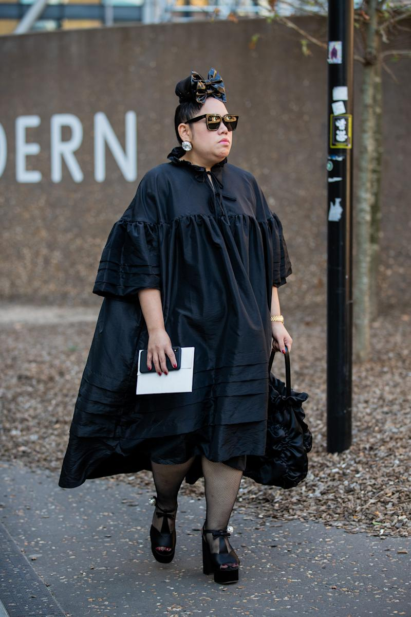 LONDON, ENGLAND - SEPTEMBER 14: A guest is seen wearing black dress outside Ports 1961 during London Fashion Week September 2019 on September 14, 2019 in London, England. (Photo by Christian Vierig/Getty Images)