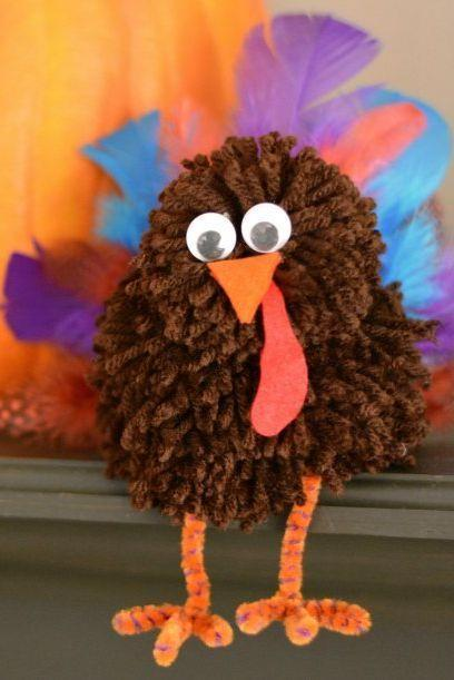 """<p>These just might be the most adorable turkeys we've ever seen. Clad in brown yarn and <a href=""""https://www.amazon.com/Carykon-Pieces-Chenille-Cleaners-Crafts/dp/B07BVMMQZB?tag=syn-yahoo-20&ascsubtag=%5Bartid%7C10050.g.28638625%5Bsrc%7Cyahoo-us"""" rel=""""nofollow noopener"""" target=""""_blank"""" data-ylk=""""slk:orange pipe cleaners"""" class=""""link rapid-noclick-resp"""">orange pipe cleaners</a>, they're a sight to behold—and we promise they're really easy to make too!</p><p><strong>Get the tutorial at <a href=""""https://growingupgabel.com/pom-pom-thanksgiving-craft/"""" rel=""""nofollow noopener"""" target=""""_blank"""" data-ylk=""""slk:Growing Up Gabel"""" class=""""link rapid-noclick-resp"""">Growing Up Gabel</a>.</strong></p><p><a class=""""link rapid-noclick-resp"""" href=""""https://www.amazon.com/Darice-10174-50-Pom-Poms-Pkg-Brown/dp/B002JPTEZQ?tag=syn-yahoo-20&ascsubtag=%5Bartid%7C10050.g.28638625%5Bsrc%7Cyahoo-us"""" rel=""""nofollow noopener"""" target=""""_blank"""" data-ylk=""""slk:SHOP BROWN POM-POMS"""">SHOP BROWN POM-POMS</a> </p>"""