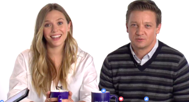 Elizabeth Olsen and Jeremy Renner at Yahoo Movies for a Facebook Live chat to talk about their movie <em>Wind River.</em>