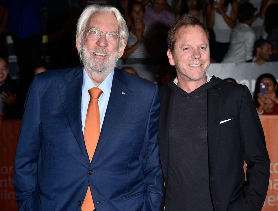 """<p><strong>Famous parent(s)</strong>: actor Donald Sutherland <br><strong>What it was like</strong>: They didn't get to spend much time together over the years, until they worked on <em>Forsaken</em> together. """"It wasn't until the last few days [of shooting] that I realized this was the most time I've spent with my father,"""" he's <a href=""""http://www.independent.co.uk/arts-entertainment/music/features/24s-kiefer-sutherland-on-finally-having-the-chance-to-star-in-western-with-father-a6751096.html"""" rel=""""nofollow noopener"""" target=""""_blank"""" data-ylk=""""slk:said"""" class=""""link rapid-noclick-resp"""">said</a>. """"I never got to spend nine weeks with my dad before.""""</p>"""