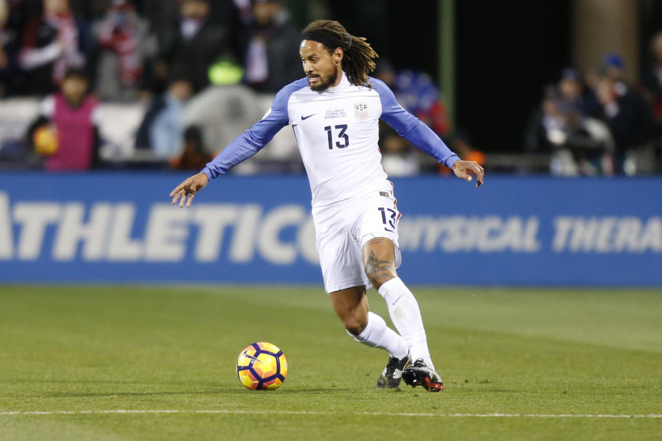 United States' Jermaine Jones plays against Mexico during a World Cup qualifying soccer match Friday, Nov. 11, 2016, in Columbus, Ohio. (AP Photo/Jay LaPrete)