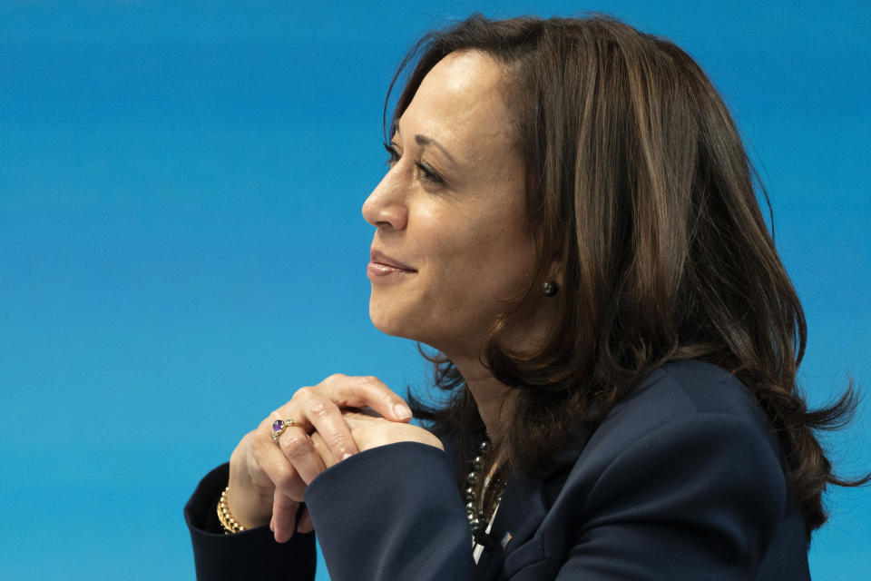 Vice President Kamala Harris attends a virtual roundtable with participants from Black Chambers of Commerce across the country to discuss the American Rescue Plan, Friday, Feb. 5, 2021, from the South Court Auditorium on the White House complex in Washington. (AP Photo/Jacquelyn Martin)