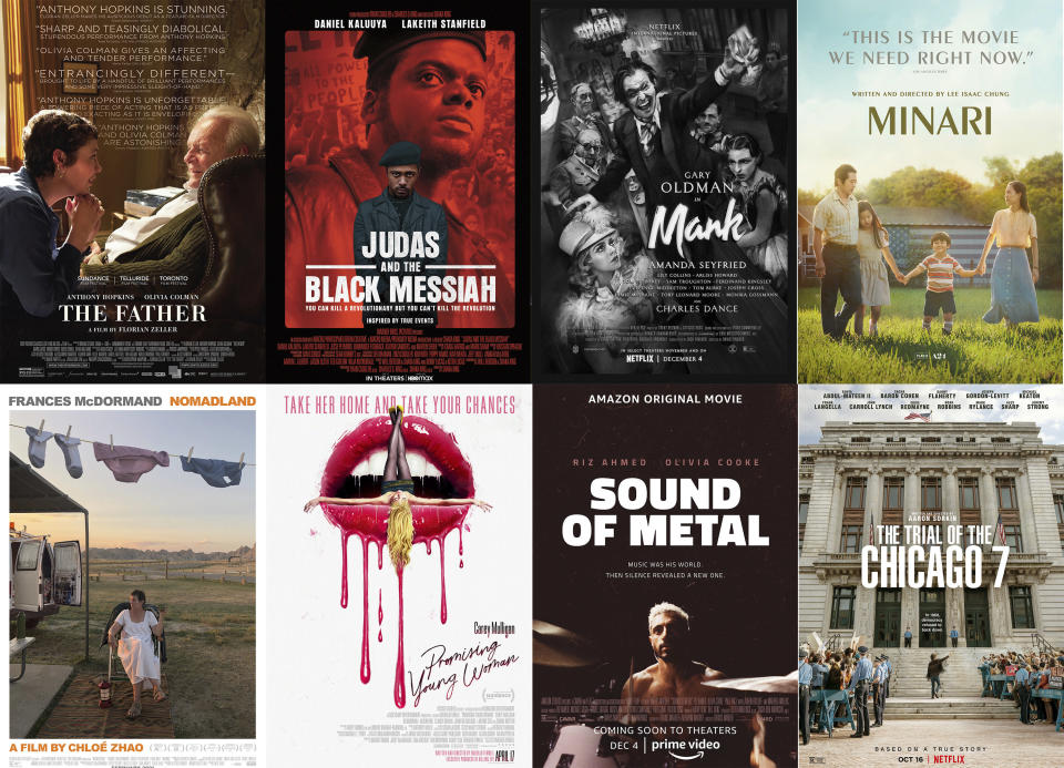"""This combination photo shows poster art for best picture Oscar nominees, top row from left, """"The Father,"""" """"Judas and the Black Messiah,"""" """"Mank,"""" """"Minari,"""" bottom row from left, """"Nomadland,"""" """"Promising Young Woman,"""" Sound of Metal,"""" and The Trial of the Chicago 7."""" (Sony Pictures Classics/Warner Bros. Pictures, Netflix, A24, Searchlight Pictures, Focus Features, Amazon Studios, Netflix via AP)"""