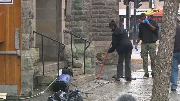 There was a lot to clean up at the front of the Union United Church in Little Burgundy.