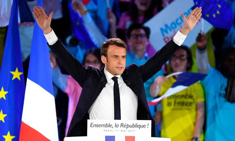 Macron after delivering a speech in Paris