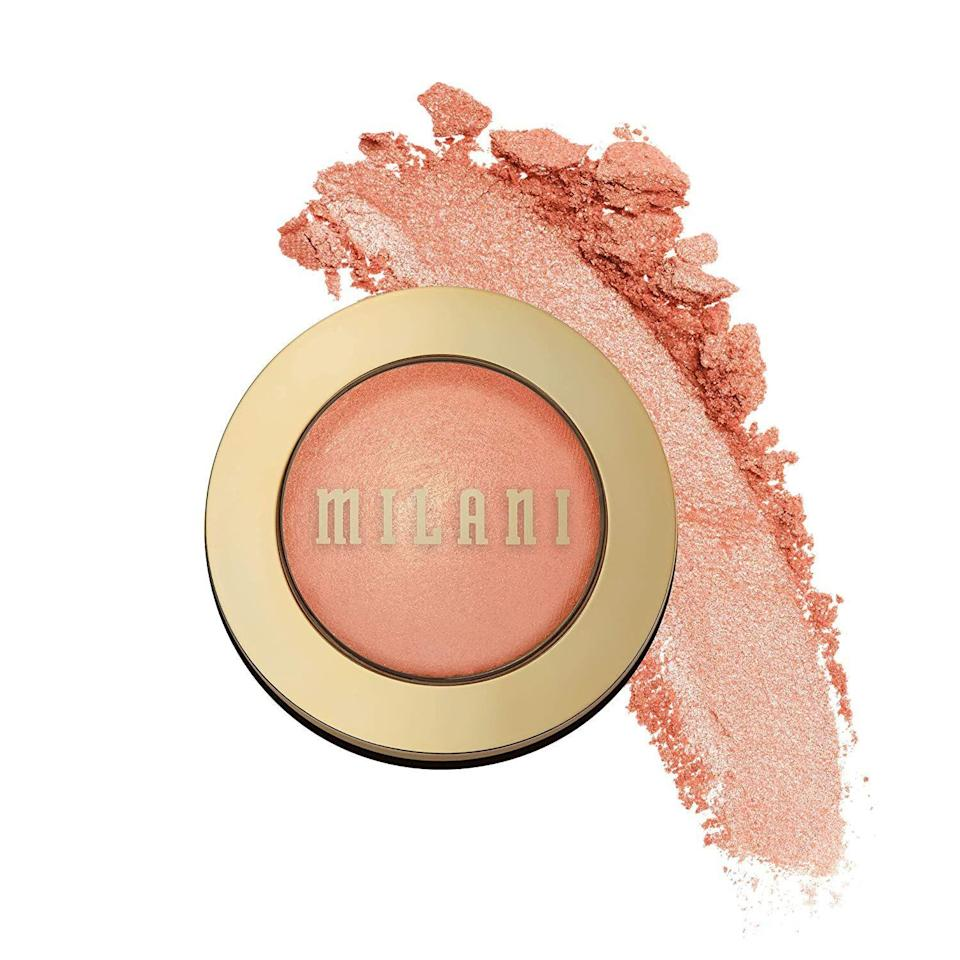 """<p><strong>Milani</strong></p><p>amazon.com</p><p><strong>$6.39</strong></p><p><a href=""""https://www.amazon.com/dp/B00518N2JC?tag=syn-yahoo-20&ascsubtag=%5Bartid%7C10072.g.36789682%5Bsrc%7Cyahoo-us"""" rel=""""nofollow noopener"""" target=""""_blank"""" data-ylk=""""slk:Shop Now"""" class=""""link rapid-noclick-resp"""">Shop Now</a></p><p>Also known as the best drugstore blush there ever was, this compact gives a sun-kissed glow to every cheek it graces with its presence. </p>"""
