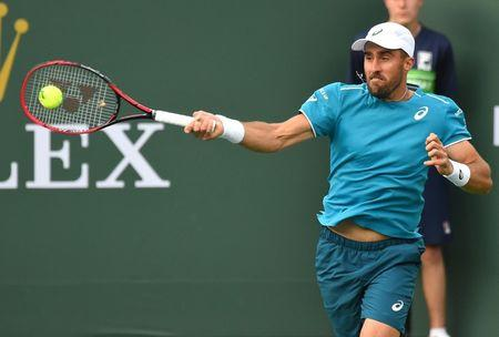 FILE PHOTO: Mar 8, 2018; Indian Wells, CA, USA; Steve Johnson (USA) during his first round match against Daniil Medvedev (not pictured) at the BNP Paribas Open at the Indian Wells Tennis Garden. Mandatory Credit: Jayne Kamin-Oncea-USA TODAY Sports