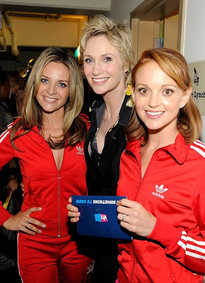 "Jane Lynch (pictured with ""Glee"" co-stars Jessalyn Gilsig and Jayma Mays) hosted the show, which honored young stars who are creating social change. ""Glee"" also won in the TV Show category. Kevin Mazur/<a href=""http://www.wireimage.com"" target=""new"">WireImage.com</a> - July 19, 2010"