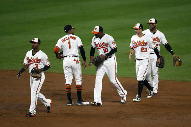 Baltimore Orioles celebrate after a baseball game against the Toronto Blue Jays, Wednesday, Sept. 19, 2018, in Baltimore. Baltimore won 2-1. (AP Photo/Patrick Semansky)