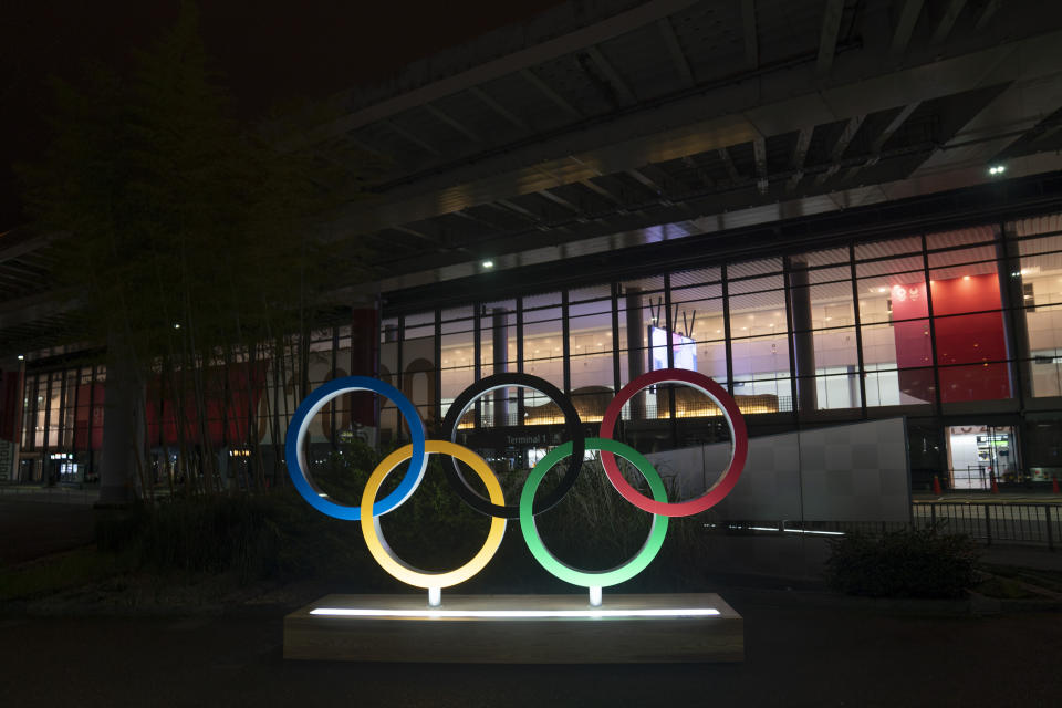 The Olympics rings stand outside the Narita International Airport on July 10, 2021, in Narita, near Tokyo. Japan's massive security apparatus for the upcoming Summer Olympics is raising complaints that the nation, during the weeks of the Games, will look more like authoritarian North Korea or China than one of the world's most powerful, vibrant democracies. (AP Photo/Jae C. Hong)