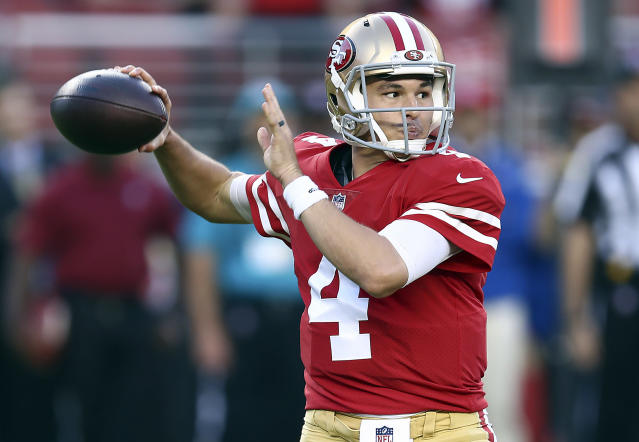 San Francisco 49ers quarterback Nick Mullens should be in a shootout in Week 12 (AP Photo).