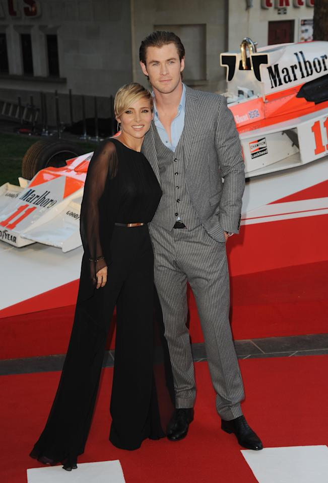 "LONDON, ENGLAND - SEPTEMBER 02: Elsa Pataky and Chris Hemsworth attend the World Premiere of ""Rush"" at Odeon Leicester Square on September 2, 2013 in London, England. (Photo by Eamonn M. McCormack/Getty Images)"