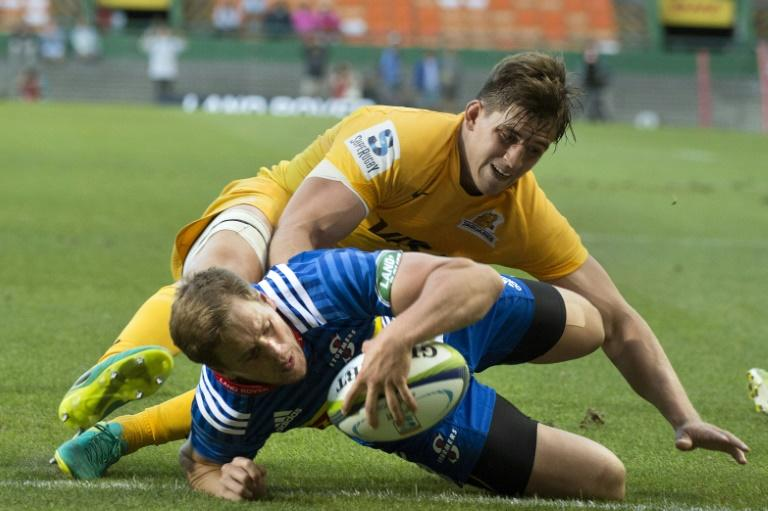 Stormers's SP Marais scores a try during their Super Rugby match against the Jaguares, at the Newlands Stadium in Cape Town, on March 4, 2017