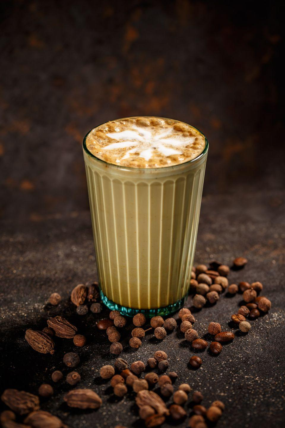"<p>This coffee shop favorite combines the spicy sweetness of a chai latte with the extra pick-me-up of an espresso shot. Masala chai is prepared latte-style with frothed milk, and the espresso (or brewed coffee, if you prefer) is added to serve. </p><p><strong>Pro tip:</strong> A dirty chai can also be made alcoholic with coffee liqueur, or chilled over ice. <br></p><p><em><a href=""https://www.hy-vee.com/recipes-ideas/recipes/dirty-chai-latte"" rel=""nofollow noopener"" target=""_blank"" data-ylk=""slk:Get the recipe for Dirty Chai from Hy-Vee »"" class=""link rapid-noclick-resp"">Get the recipe for Dirty Chai from Hy-Vee »</a></em> </p>"