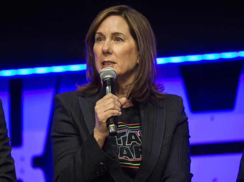 CHICAGO, IL - APRIL 12: Kathleen Kennedy during the Star Wars Celebration at the Wintrust Arena on April 12, 2019 in Chicago, Illinois. (Photo by Barry Brecheisen/Getty Images)