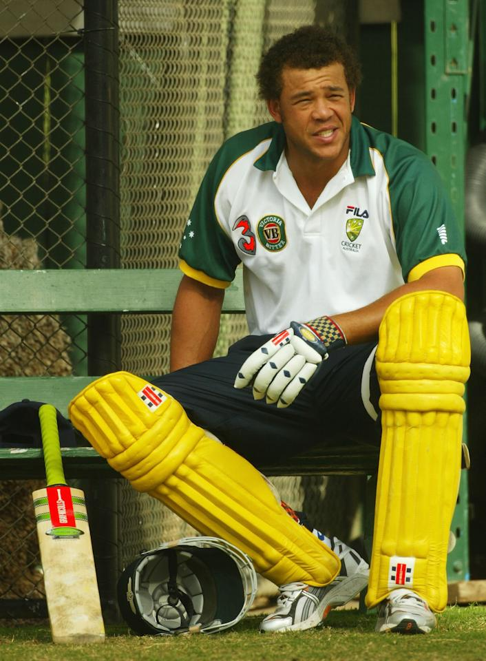 ADELAIDE, AUSTRALIA - JANUARY 25:  Andrew Symonds of Australia looks on during training at The Adelaide Oval on January 25, 2004 in Adelaide, Australia. (Photo by Hamish Blair/Getty Images)