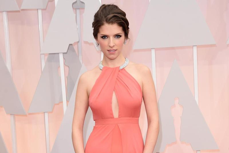 Anna Kendrick wearing a coral gown at the 87th Academy Awards: Getty Images